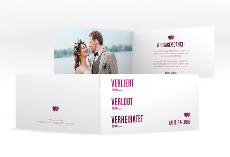"Danksagung Hochzeit ""Couple"" DIN lang Klappkarte pink"