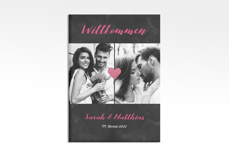 """Willkommensschild Hochzeit """"Sparkly"""" 50 x 70 cm Leinwand pink"""