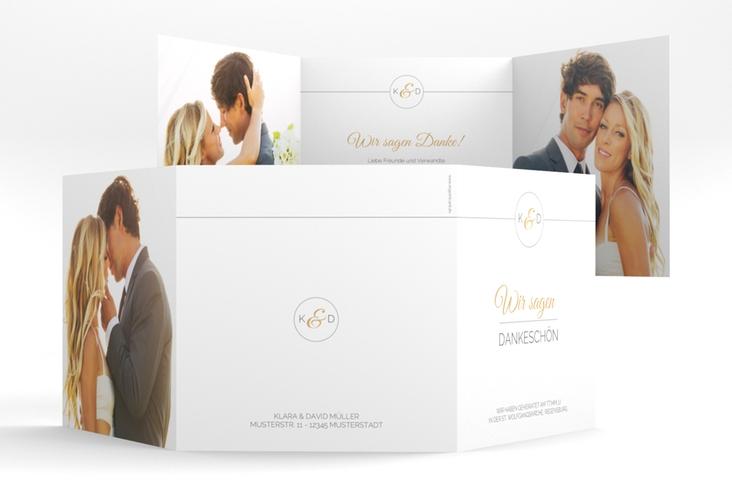 "Dankeskarte Hochzeit ""Unique"" Quadr. Karte doppelt gold"