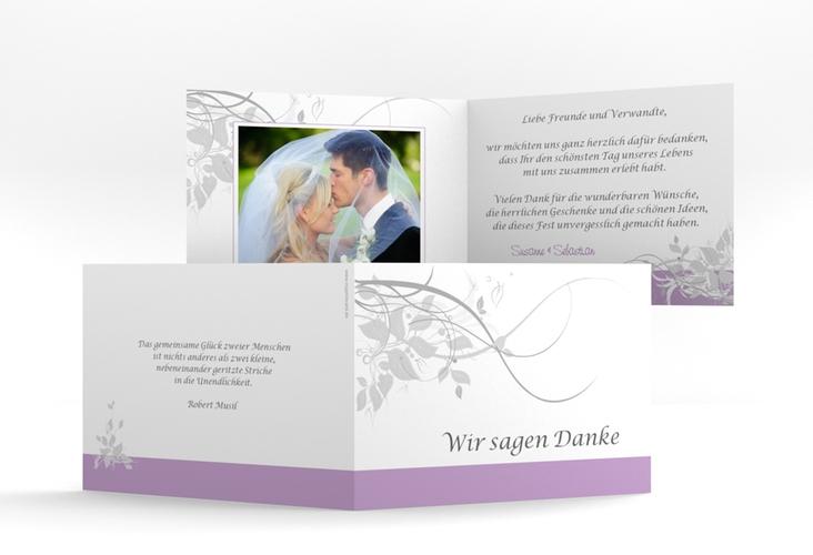 "Danksagungskarte Hochzeit ""Florenz"" A6 Klappkarte Quer flieder"