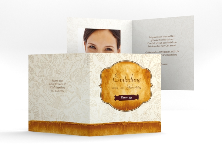 """Einladungskarte """"Luise"""" Quadratische Klappkarte"""
