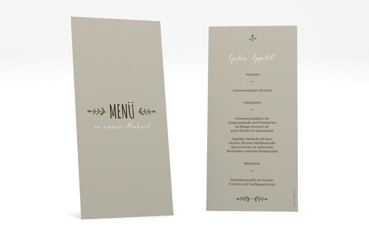 "Menükarte Hochzeit ""Eden"" DIN lang hoch gruen"