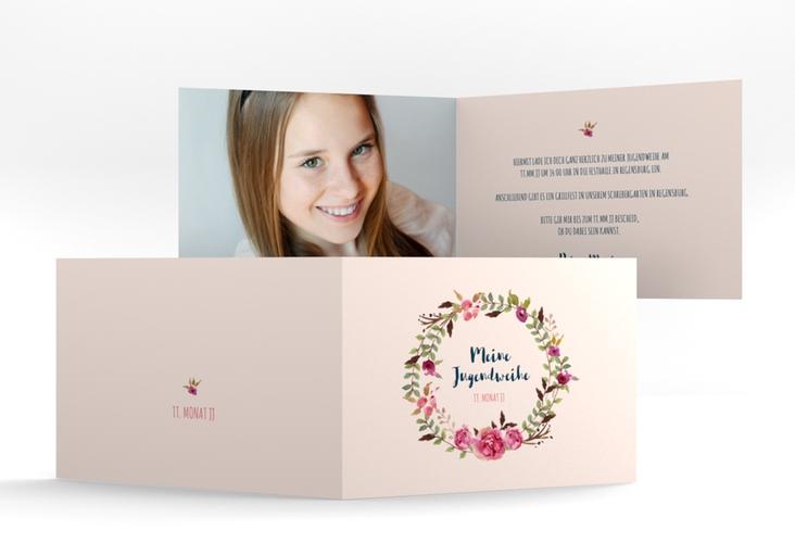"""Einladung Jugendweihe """"Girlie"""" A6 Klappkarte Quer rosa"""