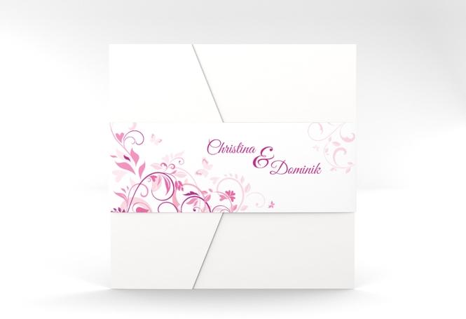 """Hochzeitseinladung """"Lilly"""" Pocketfold pink"""