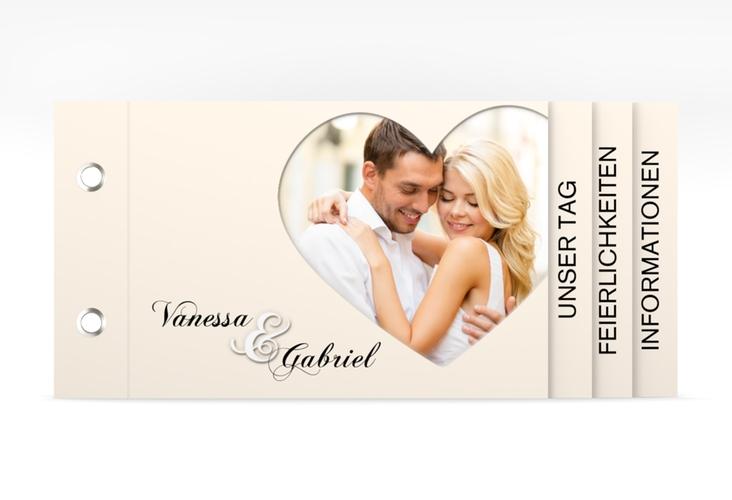 """Hochzeitseinladung """"Sweetheart"""" Booklet beige"""