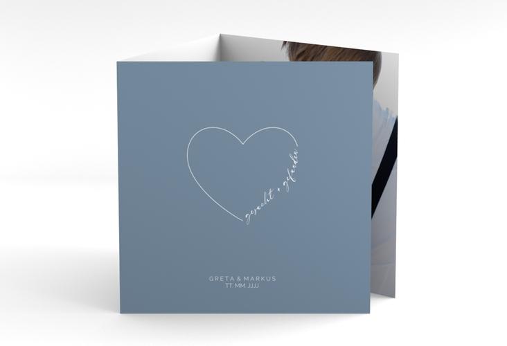"""Danksagungskarte Hochzeit """"Lebenstraum"""" Quadr. Karte doppelt blau"""