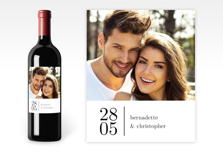 """Weinetikett zur Hochzeit """"Minimal"""" Etikett Weinflasche 4er Set weiss"""