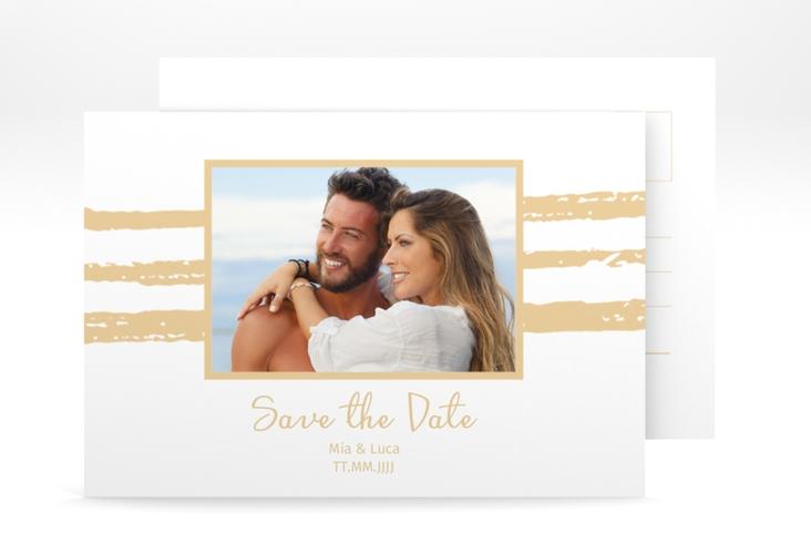 "Save the Date-Postkarte ""Mare"" A6 Postkarte beige"