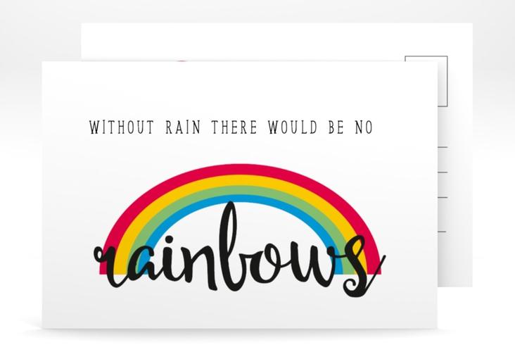 "Grußkarte ""Regenbogen"" A6 Postkarte weiss"