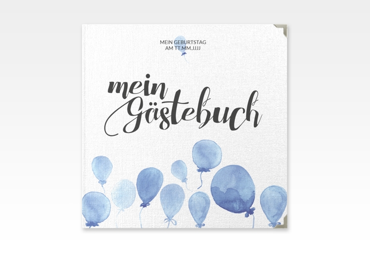 "Gästebuch Selection Geburtstag ""Ballon"" Leinen-Hardcover blau"