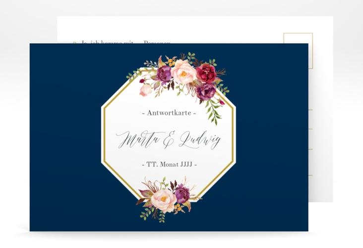 """Antwortkarte Hochzeit """"Prachtvoll"""" A6 Postkarte blau"""