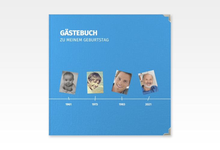 "Gästebuch Selection Geburtstag ""Timeline"" Leinen-Hardcover blau"