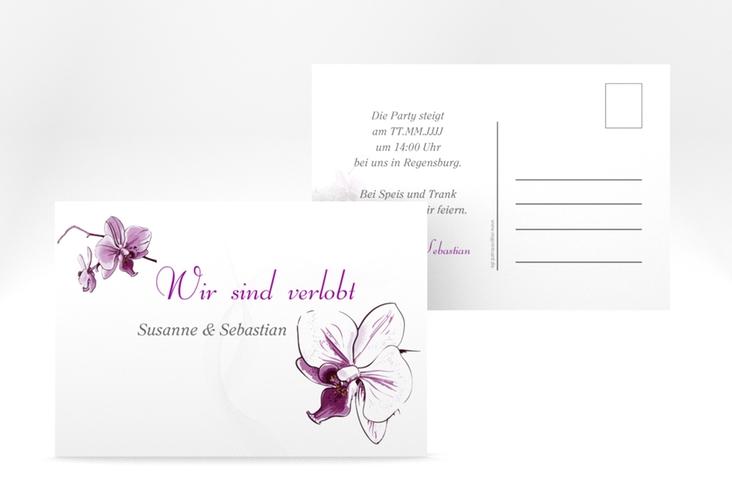 "Verlobungskarte Hochzeit ""Modena"" A6 Postkarte weiss"