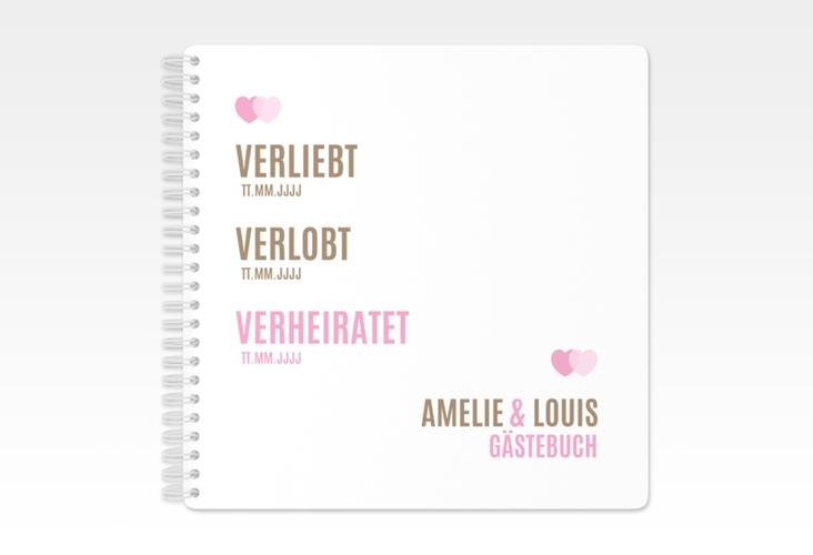 "Gästebuch Hochzeit ""Couple"" Ringbindung rosa"