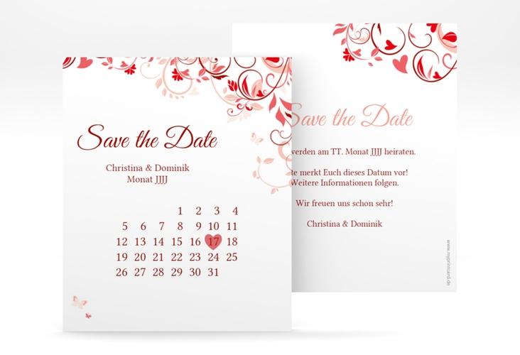 "Save the Date-Kalenderblatt ""Lilly"" Kalenderblatt-Karte rot"