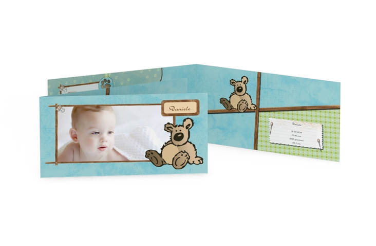 Biglietti nascita orsacchiotto DIN lang Klappkarte