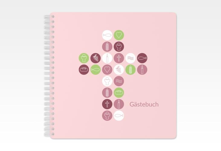 """Gästebuch Kommunion """"Imago"""" Ringbindung rosa"""