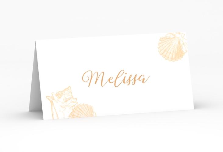 """Tischkarte Hochzeit """"Muschelreich"""" Tischkarten beige"""
