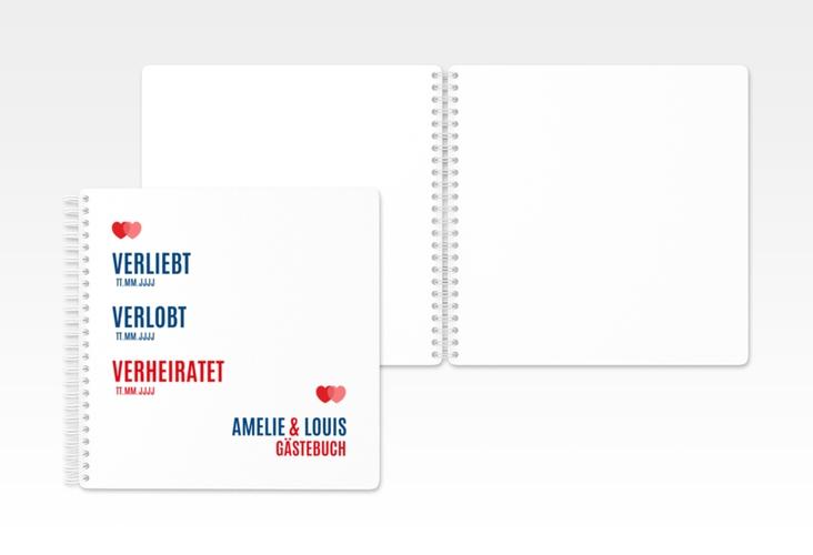 """Gästebuch Hochzeit """"Couple"""" Ringbindung rot"""