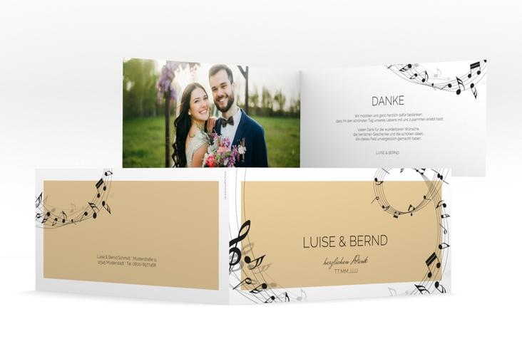 """Dankeskarte Hochzeit """"Melody"""" DIN lang Klappkarte beige"""