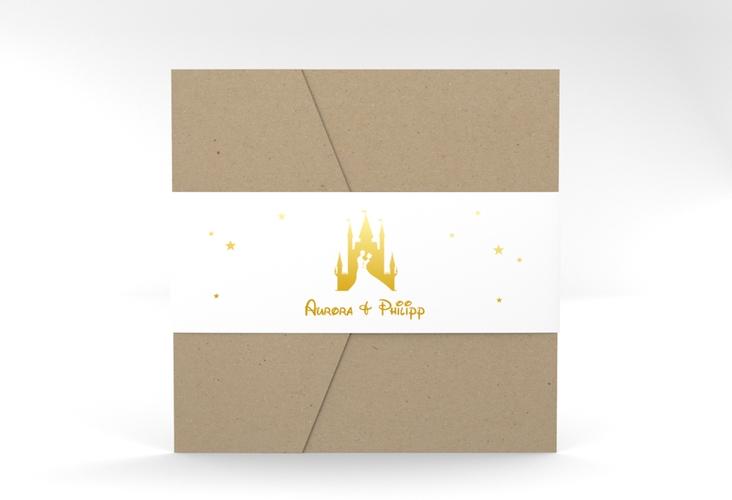 """Hochzeitseinladung """"Castle"""" Pocketfold gold"""