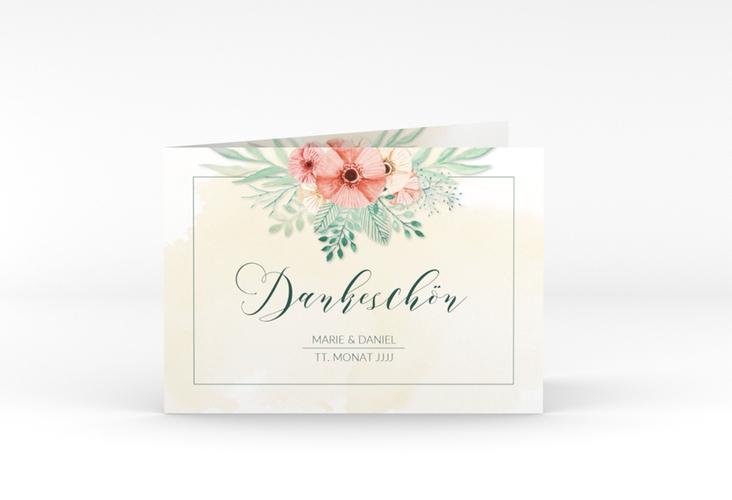 """Dankeskarte Hochzeit """"Surfinia"""" A6 Klappkarte Quer apricot"""