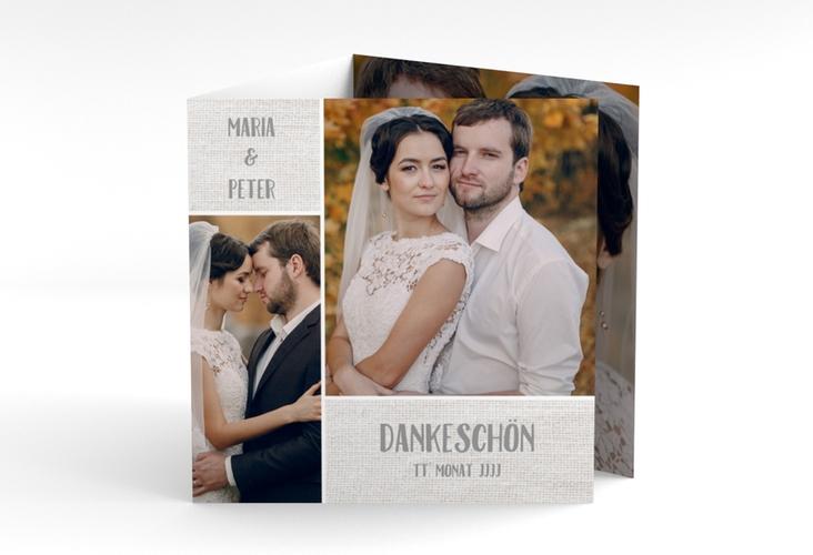 "Dankeskarte Hochzeit ""Landliebe"" Quadr. Karte doppelt weiss"