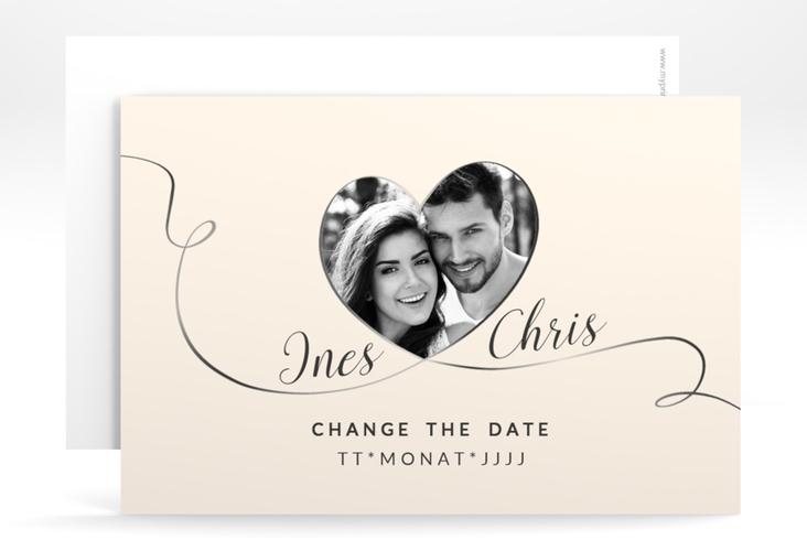 """Change the Date-Karte Hochzeit """"Dolce"""" A6 quer beige"""