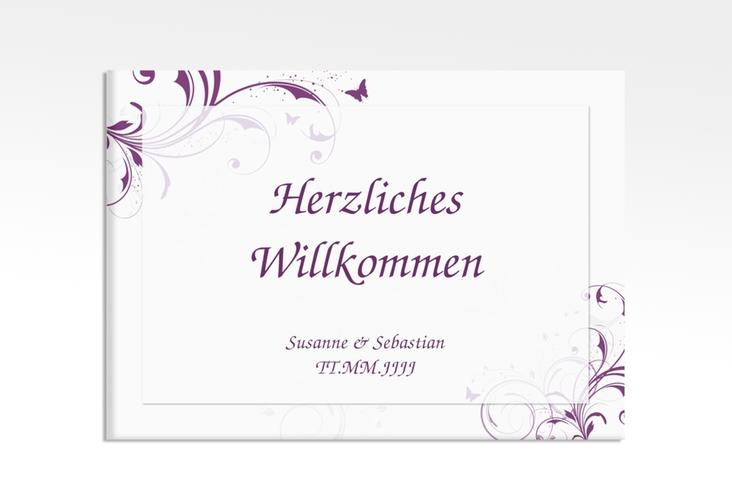 """Willkommensschild Hochzeit """"Palma"""" 70 x 50 cm Leinwand lila"""