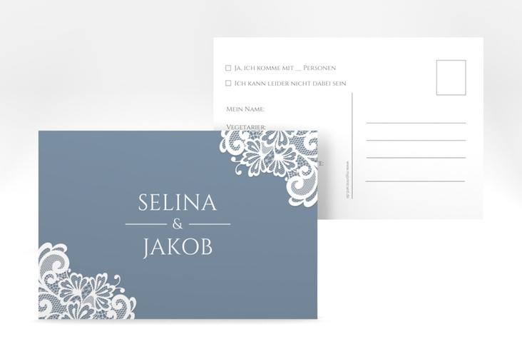 """Antwortkarte Hochzeit """"Vintage"""" A6 Postkarte blau"""
