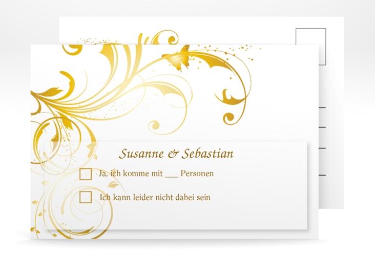 "Antwortkarte Hochzeit ""Palma"" A6 Postkarte gold"