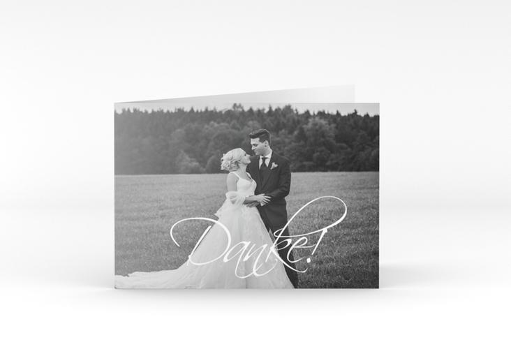 """Danksagungskarte Hochzeit """"Clarity"""" A6 Klappkarte Quer weiss"""