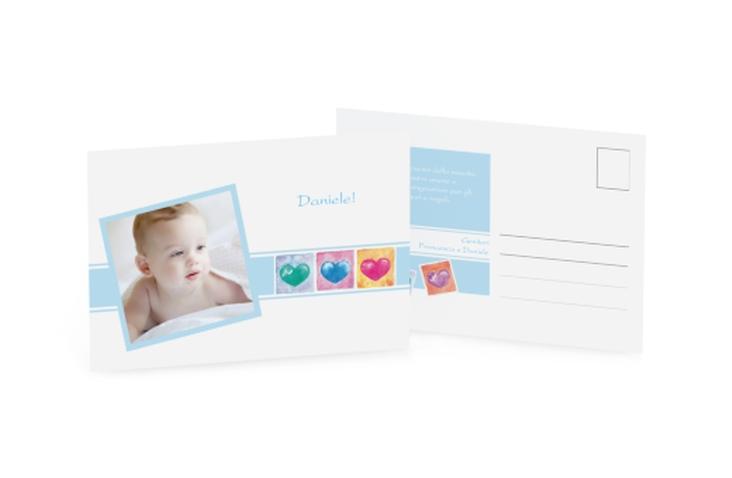 Biglietti nascita tre cuori A6 Postkarte blu