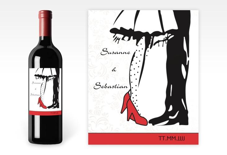 """Weinetikett zur Hochzeit """"Straßburg"""" Etikett Weinflasche 4er Set rot"""