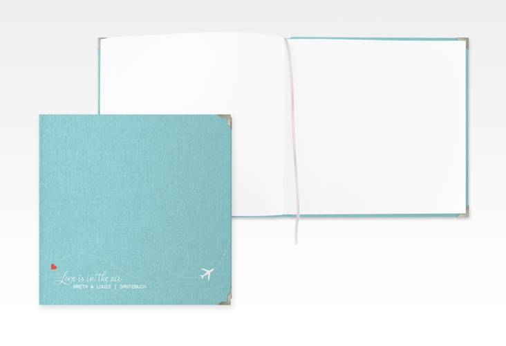 "Gästebuch Selection Hochzeit ""Weddingpass"" Leinen-Hardcover blau"