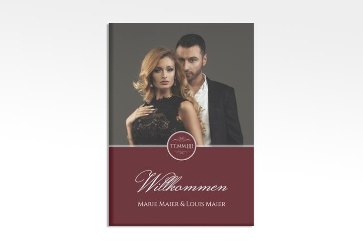 """Willkommensschild Hochzeit """"Elegancy"""" 50 x 70 cm Leinwand rot"""