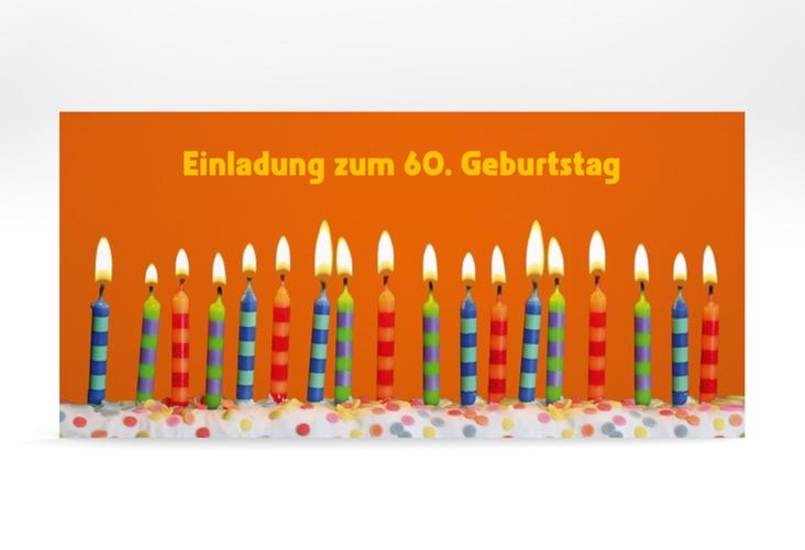 "Einladungskarte ""Candles"" DIN lang orange"