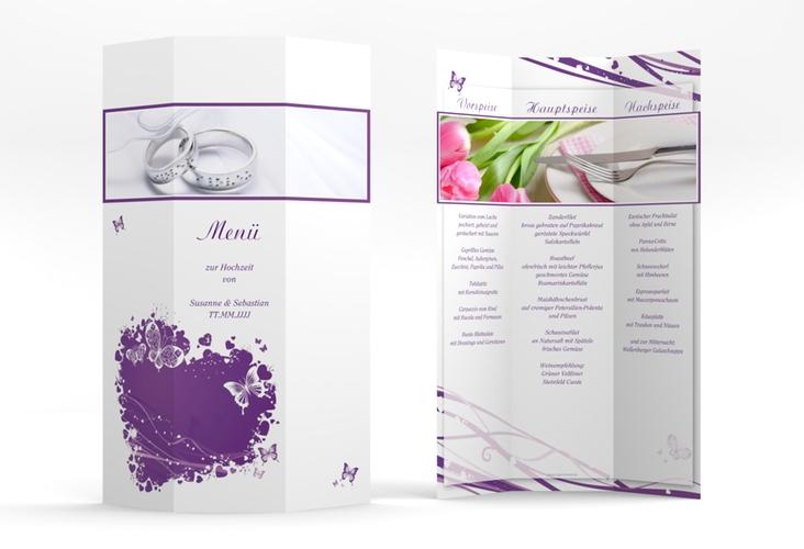 """Menükarte Hochzeit """"Mailand"""" DIN A4 Wickelfalz lila"""