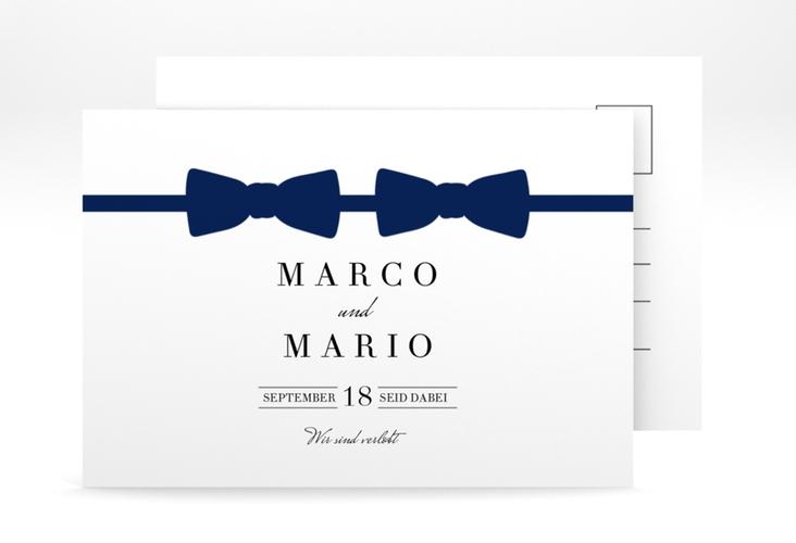"Verlobungskarte Hochzeit ""Suits"" A6 Postkarte blau"