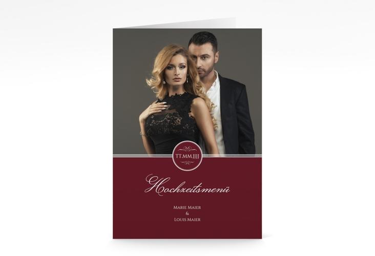 """Menükarte Hochzeit """"Elegancy"""" DIN A5 geklappt rot"""