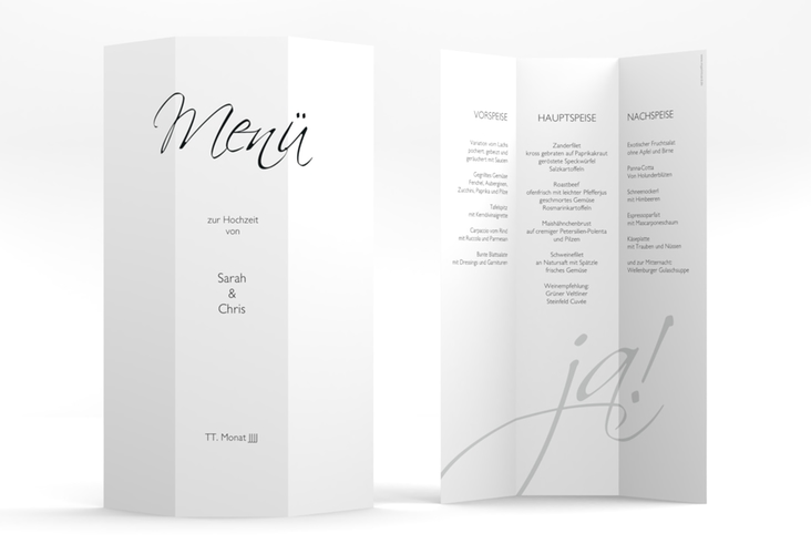 "Menükarte Hochzeit ""Clarity"" DIN A4 Wickelfalz"