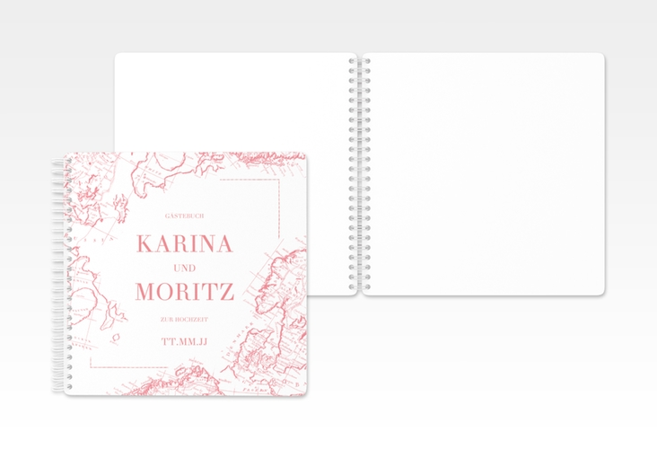 """Gästebuch Hochzeit """"Voyage"""" Ringbindung rosa"""