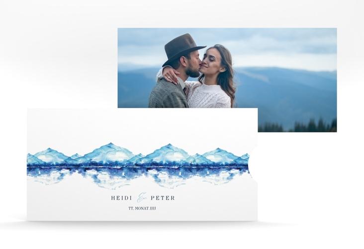 """Hochzeitseinladung """"Bergliebe"""" Einsteckkarte blau"""