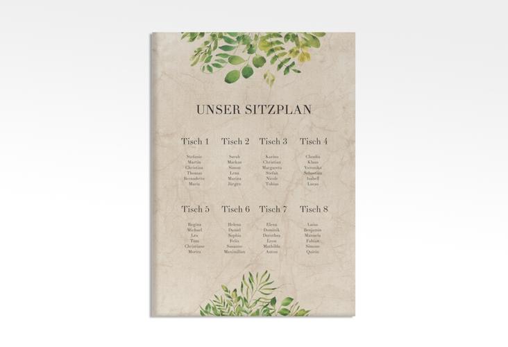 "Sitzplan Leinwand Hochzeit ""Botany"" 50 x 70 cm Leinwand beige"