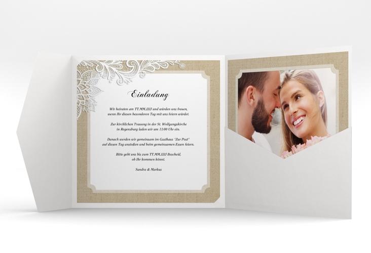 """Hochzeitseinladung """"Lace"""" Pocketfold beige"""