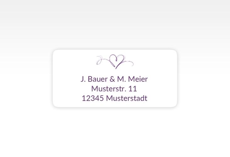 """Absenderetikett Hochzeit """"Envie"""" 45,7 x 21,2 mm lila"""