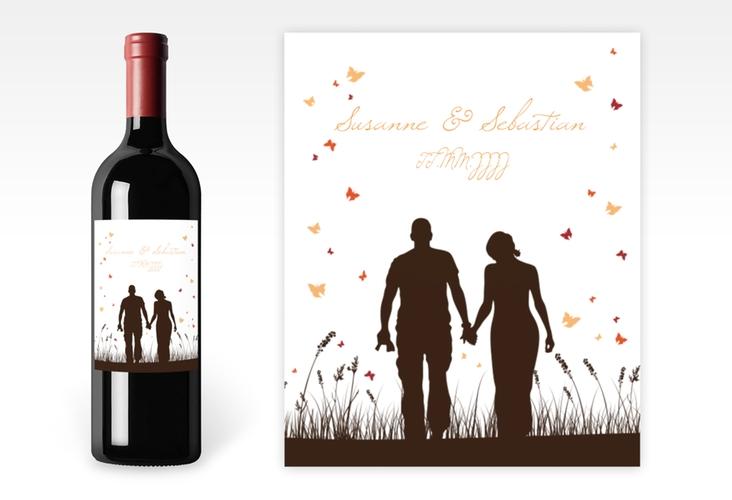 """Weinflaschenetikett Hochzeit """"Rouen"""" Etikett Weinflasche 4er Set braun"""