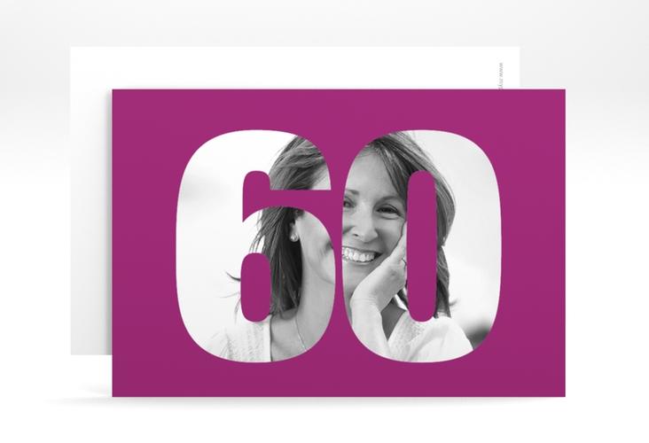 "Einladungskarte ""Numbers"" A6 quer pink"