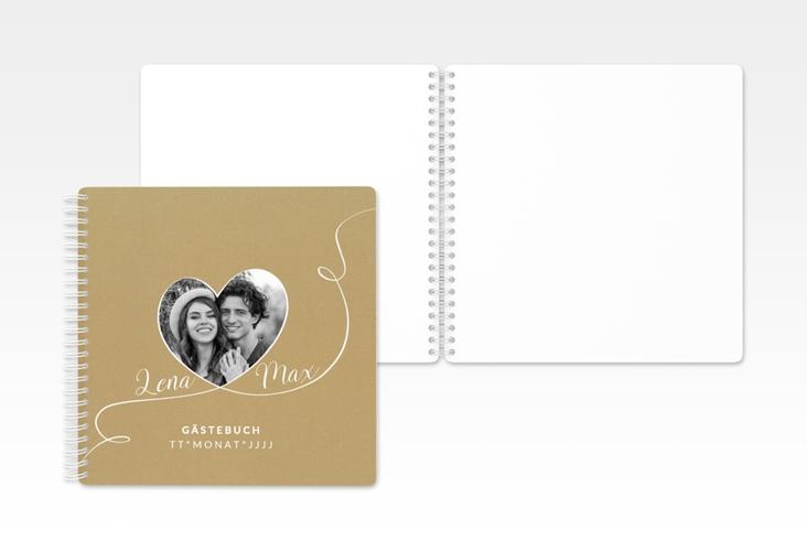 """Gästebuch Hochzeit """"Herzensbund"""" Ringbindung weiss"""
