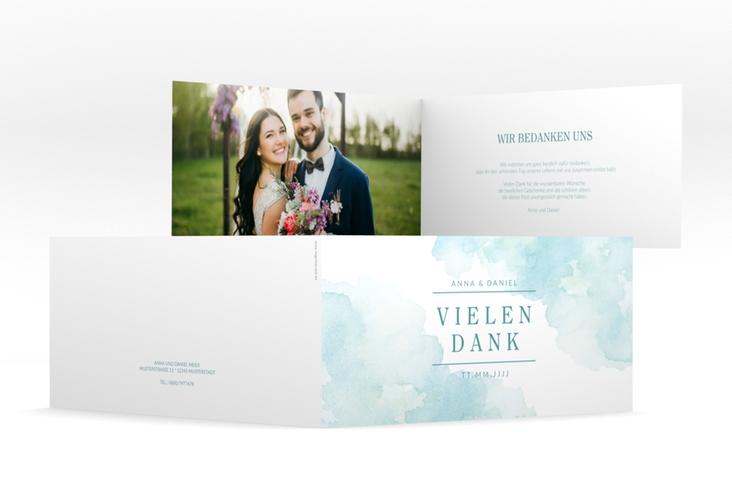 """Dankeskarte Hochzeit """"Blush"""" DIN lang Klappkarte tuerkis"""